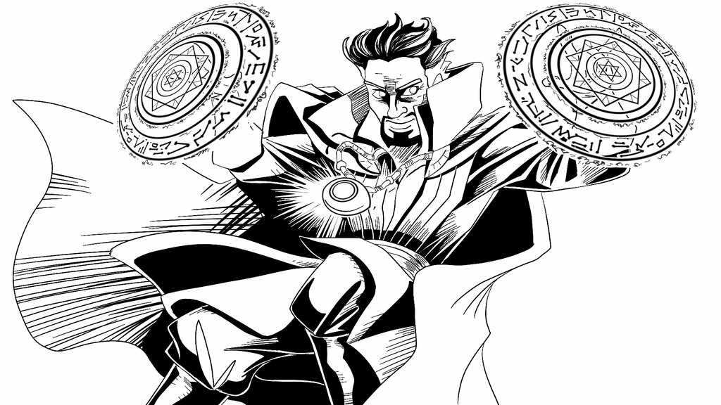 Strange wielding his Tao Mandalas in battle from Doctor Strange MCU Coloring Pages