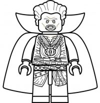 Lego Angry Doctor Strange wears his cloak Coloring Page