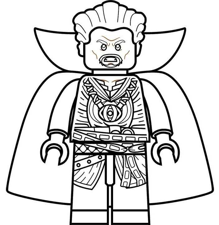 Lego Angry Doctor Strange wears his cloak Coloring Pages