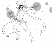 Doctor Strange tries to train magic by his hands Coloring Page