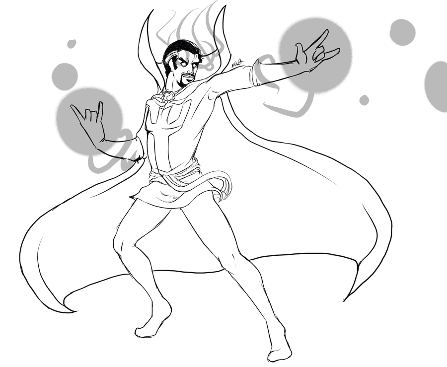 Doctor Strange tries to train magic by his hands Coloring Pages