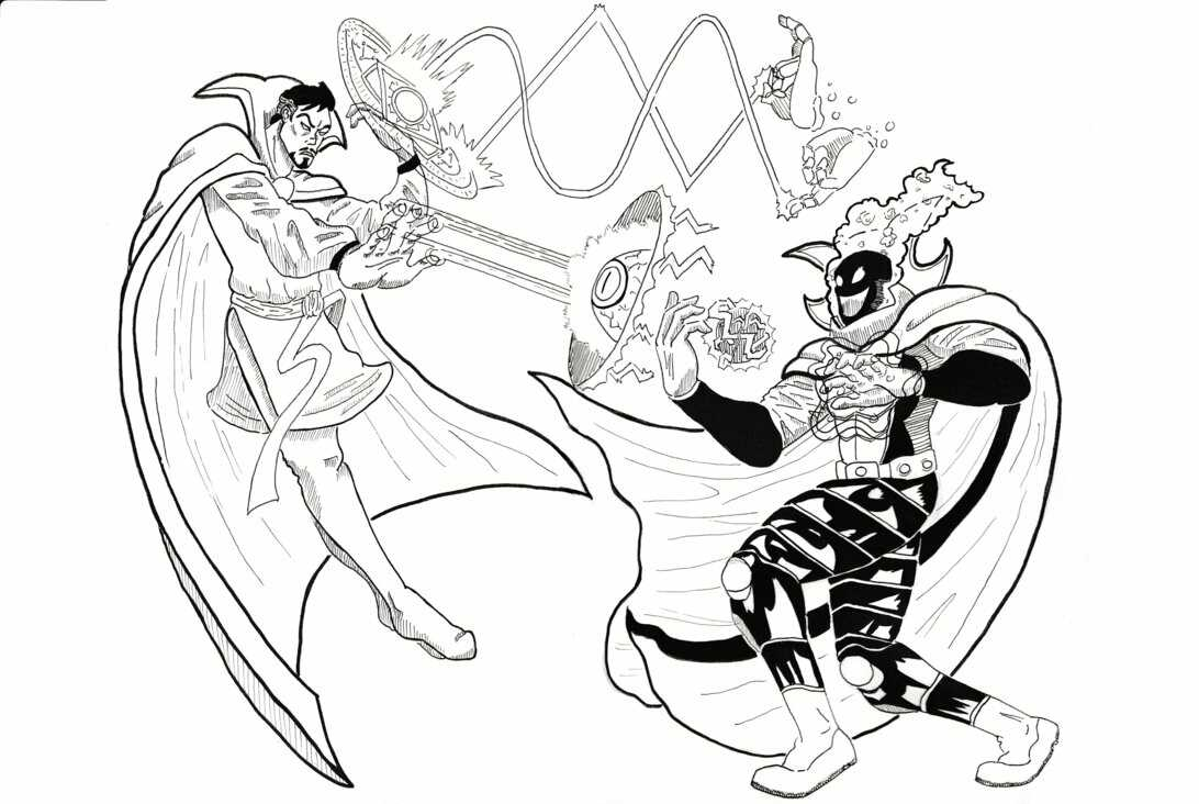 Dr.Strange tries to fight to Dormammu from Doctor Strange movie Coloring Pages