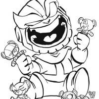 Funny chibi Thanos plays with the Avengers Team Teddy Coloring Page