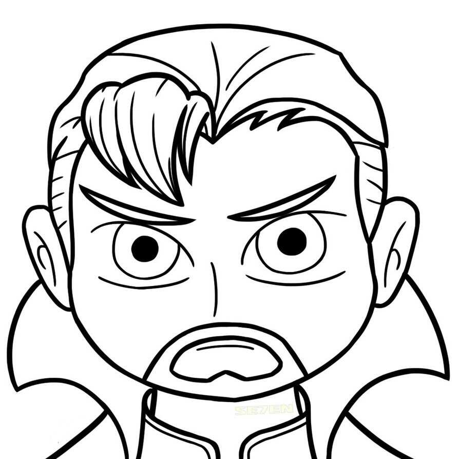 chibi-funny-head-of-Doctor-Strange cartoon Coloring Pages