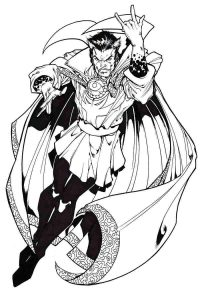 Serious Master of Mystic Art Doctor Stephen Strange from MCU Coloring Page