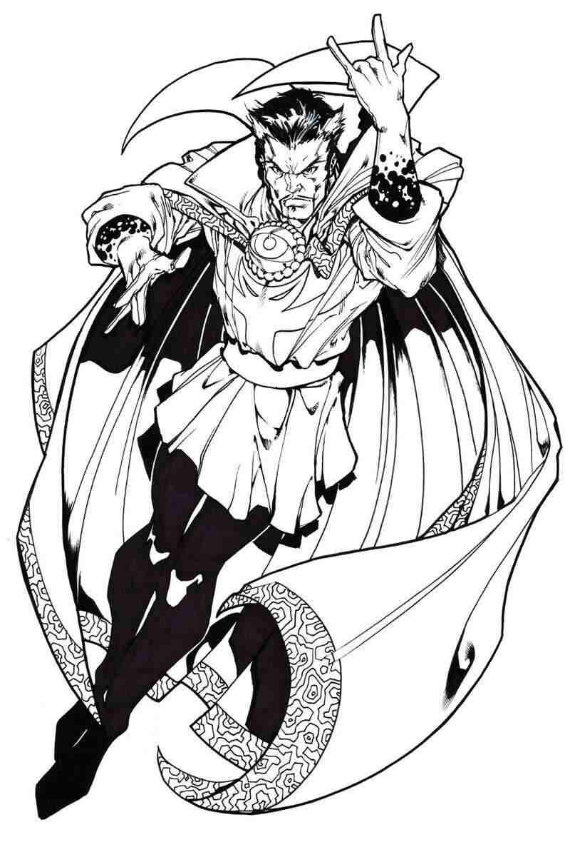 Serious Master of Mystic Art Doctor Stephen Strange from MCU Coloring Pages