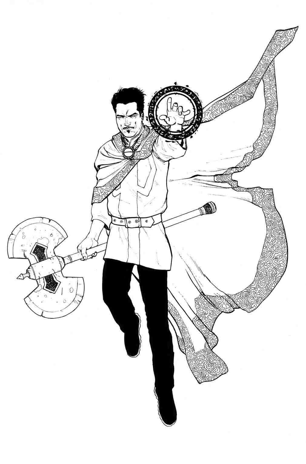 Dr.Strange holds pickaxe from Doctor Strange movie Coloring Pages