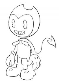 Cute Bendy with tail heart-shaped Coloring Page