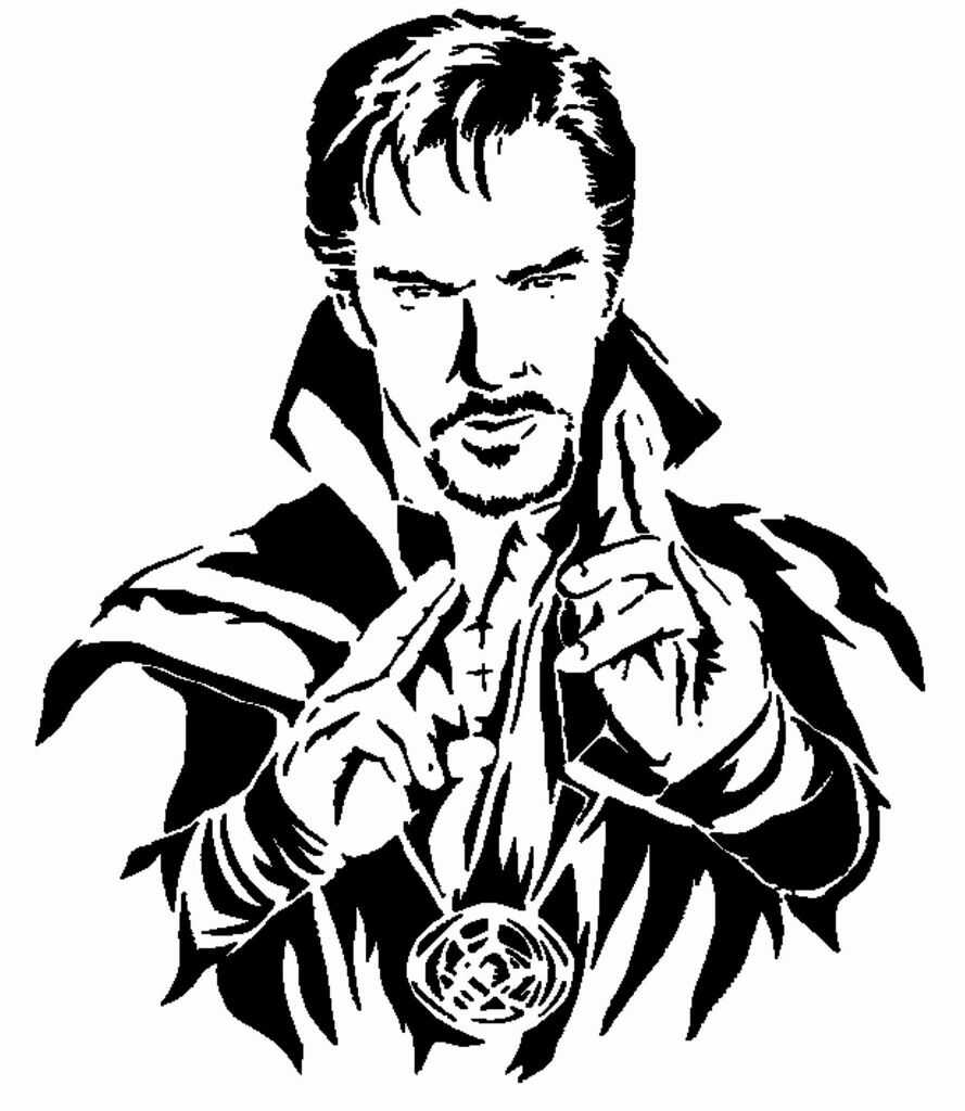 Beautiful art of Doctor Strange with Time Stone Coloring Pages