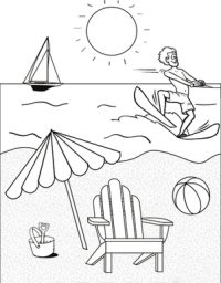 The man surfing in the sunset at the beach Coloring Page