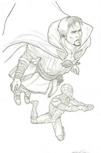 Doctor Strange and Spider man in the Avengers Infinity War Coloring Page