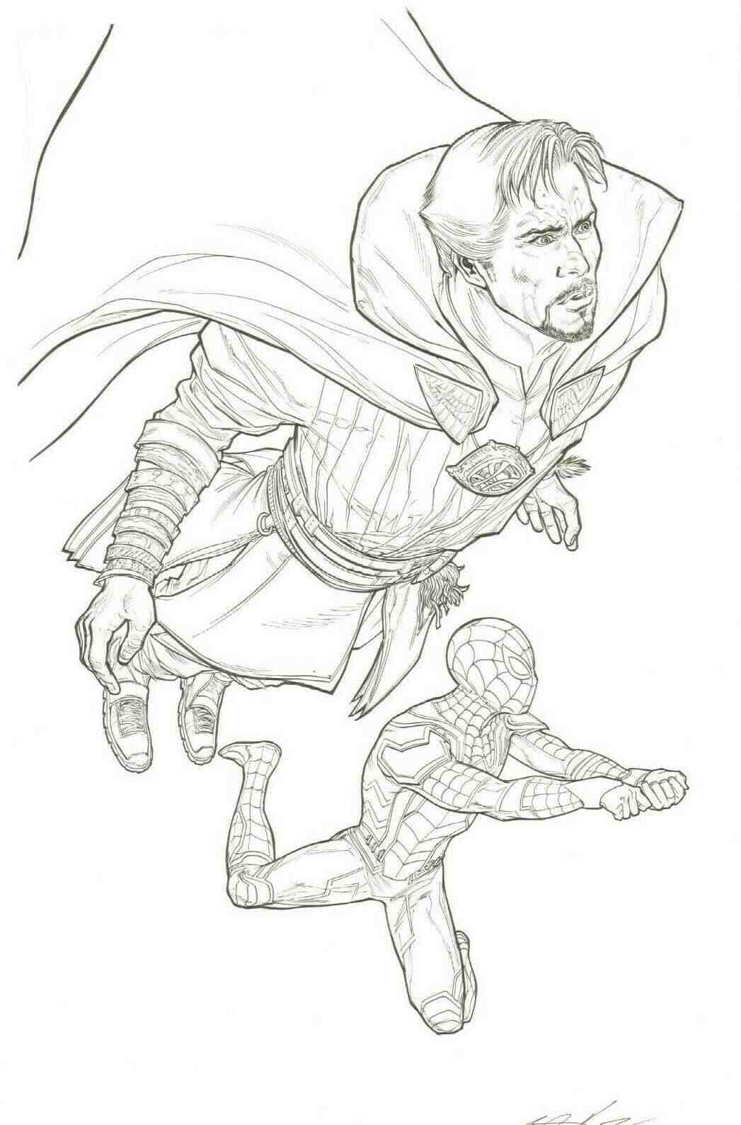 Doctor Strange and Spider man in the Avengers Infinity War Coloring Pages