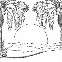 Coconuts scene in the sunset Coloring Page