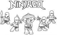 Ninjago Squad of Master and students Coloring Page