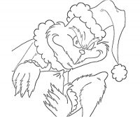 Devilish Grinch carries a pillow and wears sleeping hat Coloring Page
