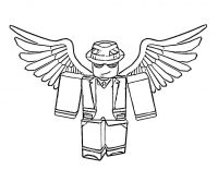 Roblox man with wings wears gangster hat Coloring Page