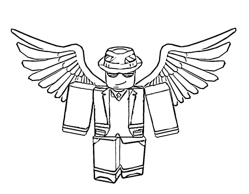 Roblox man with wings wears gangster hat Coloring Pages