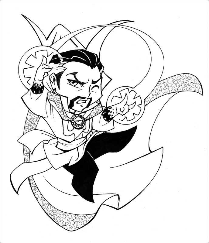 Chibi Dr. Strange tries to use magic Mystery Art Coloring Pages