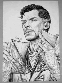 Dr.Strange from the Avengers through pencil art Coloring Page