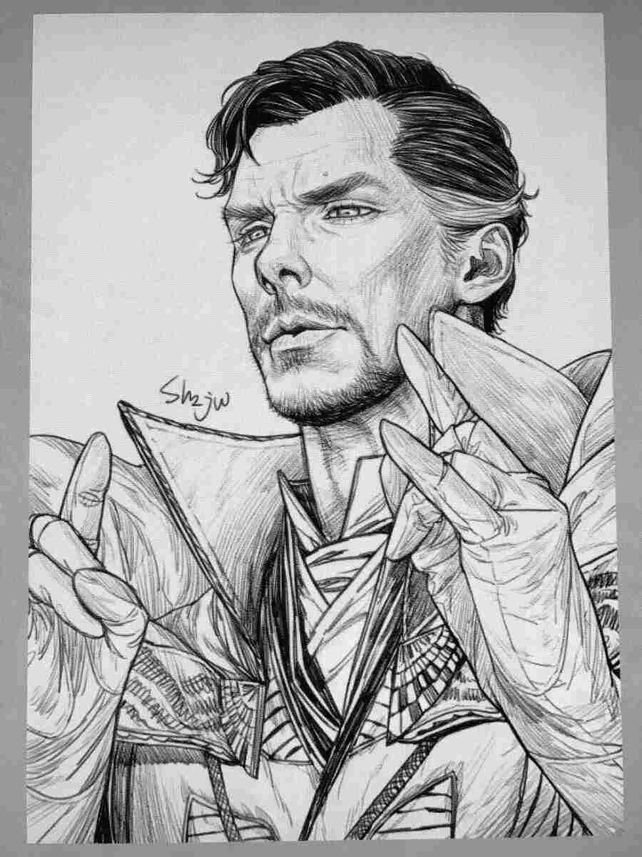 Dr.Strange from the Avengers through pencil art Coloring Pages