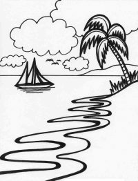 Shadow of the coconut on the beach at sunset Coloring Page
