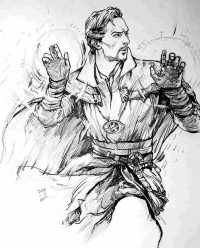 Drawing Supereme Sorcerer Doctor Strange by pencil Coloring Page