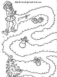 Help the Grinch get back to his cave Coloring Page