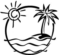 The sun and coconut at the beach in the sunset Coloring Page