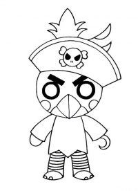 Roblox Piggy Budgey wears pirate hat Coloring Page