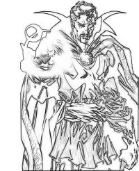The Supereme Sorcerer Dr. Strange protects the New York Sanctum in New York Coloring Page
