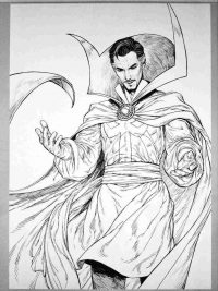 Dr.Strange with Cloak of Levitation from MCU Coloring Page