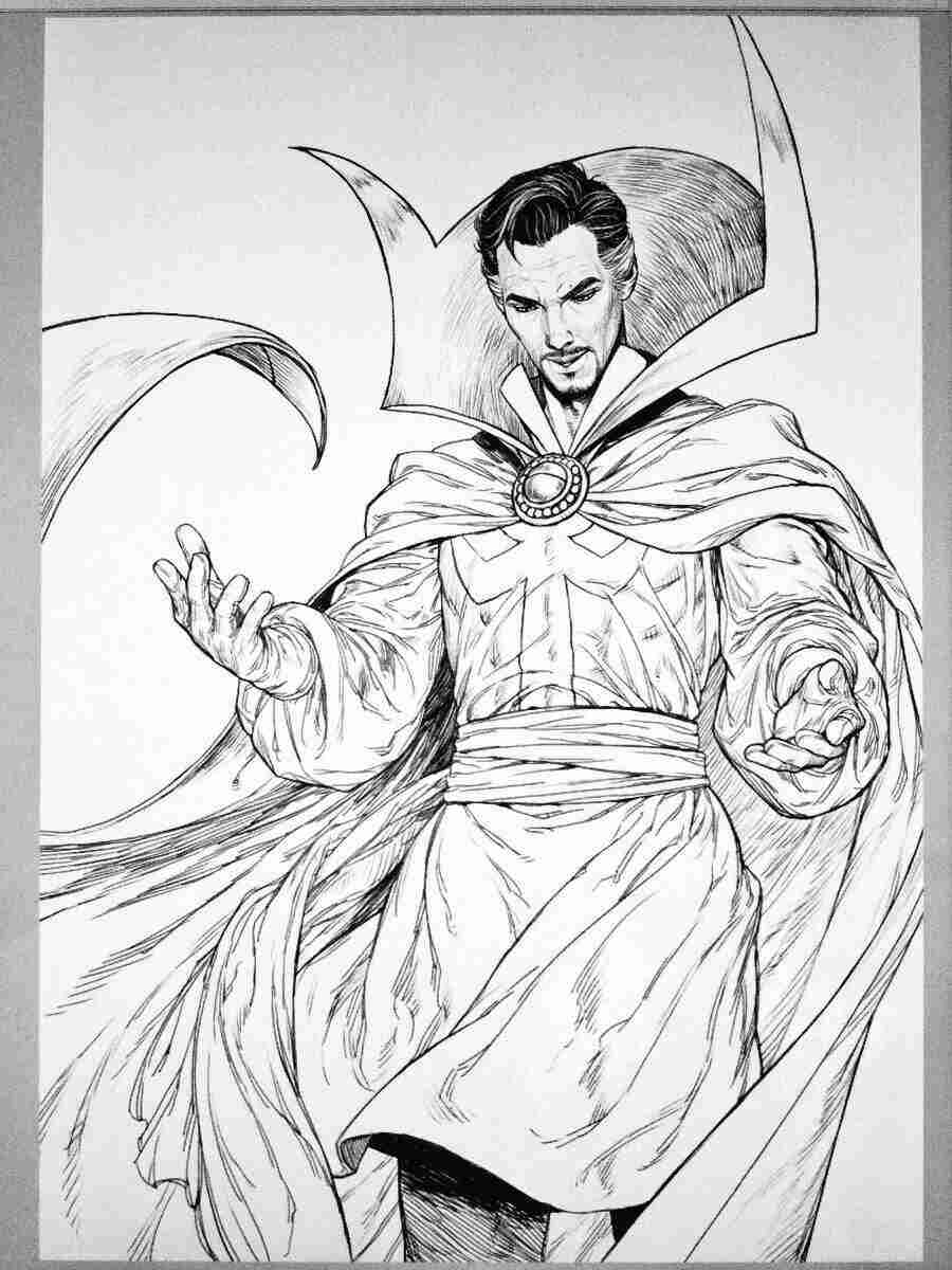 Dr.Strange with Cloak of Levitation from MCU Coloring Pages