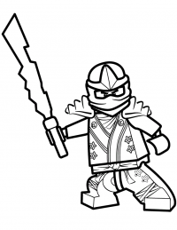 The Fire Ninja uses Element Blades from Lego Ninjago Coloring Page