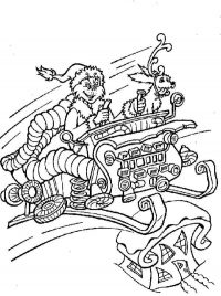 Grinch drives sleigh machine with Max dog Coloring Page
