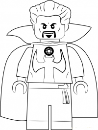 Lego simple Dr.Strange with Cloak of Levitation Coloring Page