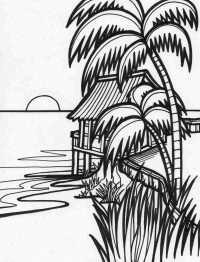 The Sunset scene about the house on the coconut island Coloring Page