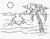 The sun reflected on the beach in the sunset Coloring Page