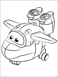 Super Wings Mira has a four bladed motor propeller as a symbol Coloring Page