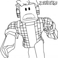 Robloxian listens to music via hexagon headphone Coloring Page