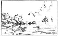 Boat mooring at coast in the sunset Coloring Page