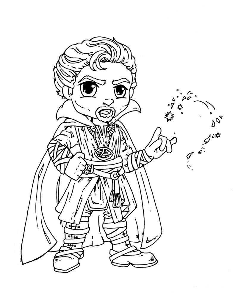 Chibi cute Dr. Strange uses magical spells Coloring Pages