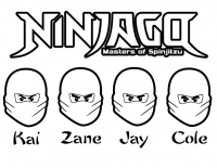 Four Ninjas in Master of Spinjitzu from Lego Ninjago Coloring Page