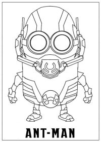 Chibi cute robot Ant-man in Ant-man cartoon Coloring Page