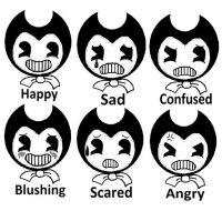 Bendy and the shades of emotion Coloring Page