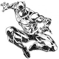 Black Panther jumps high and shows his claws Coloring Page