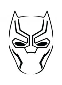 Black Panther Lineart Mask Coloring Page