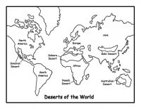 The deserts of the world map with names Coloring Page