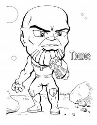 Chibi cute Thanos from the Avengers with his glitter eyes Coloring Page