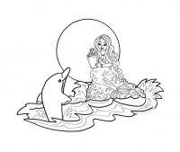 Mermaid tells dolphin a fairy tale Coloring Page