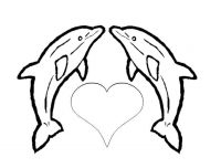 The love heart of Dolphins Coloring Page